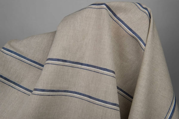 Grey linen / cotton fabric with blue stripes 4