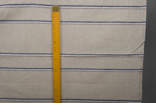 Grey linen / cotton fabric with blue stripes 5