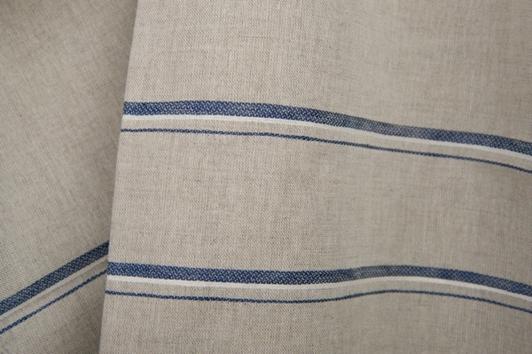Grey linen / cotton fabric with blue stripes 2