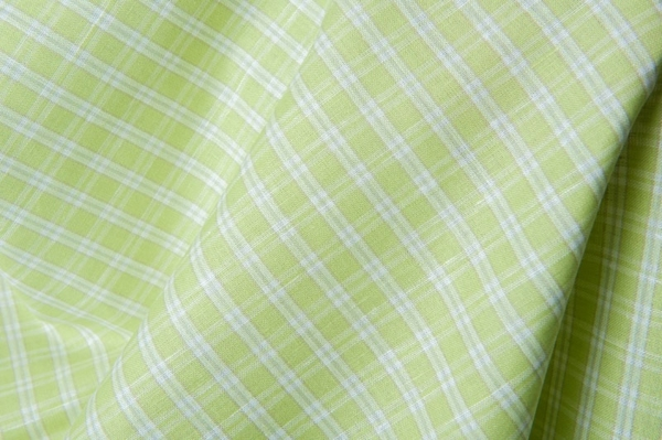 Green linen / cotton fabric in white stripes 1