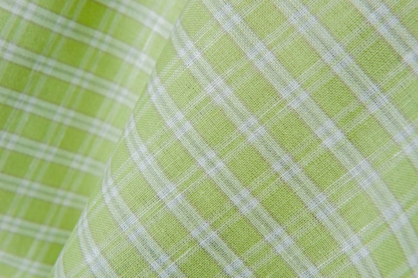 Green linen / cotton fabric in white stripes 2