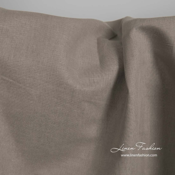 Linen cotton brown grey fabric 1
