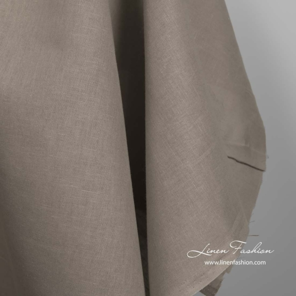 Linen cotton brown grey fabric 2