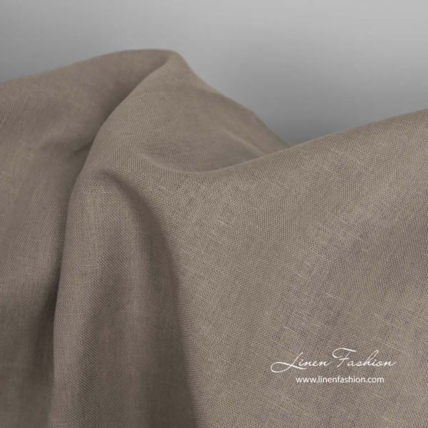 Linen cotton brown grey fabric 3