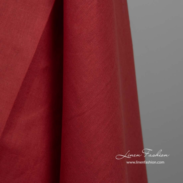 Red linen cotton fabric 2