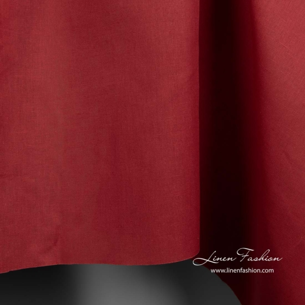 Red linen cotton fabric 3