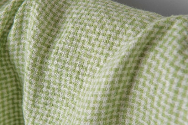 Washed linen fabric in tiny green checks 2