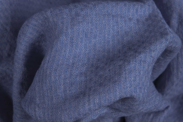 Blue striated washed linen fabric 2