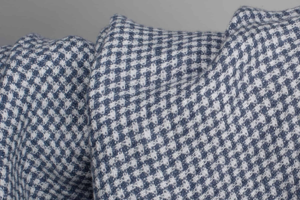 Patterned washed linen fabric in blue and white 2