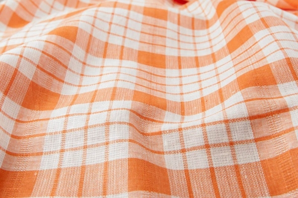 Orange checked linen fabric 1