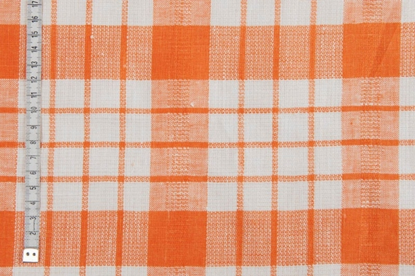 Orange checked linen fabric 2