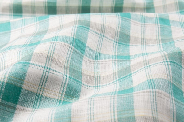 Emerald and white checked linen fabric 1