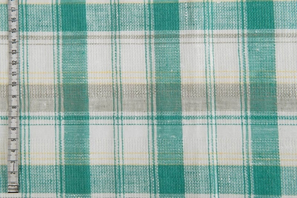 Emerald and white checked linen fabric 2