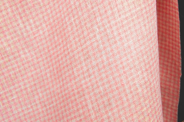 Light pink linen fabric in small checks 1