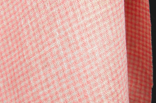 Light pink linen fabric in small checks 2