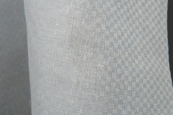 Bluish grey checked linen fabric 1