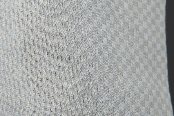 Bluish grey checked linen fabric 2