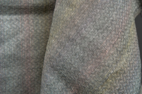 Grey colourful patterned pure linen fabric 1