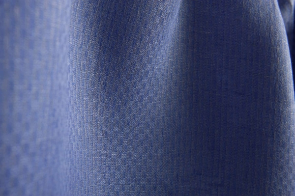 Blue patterned linen fabric 1
