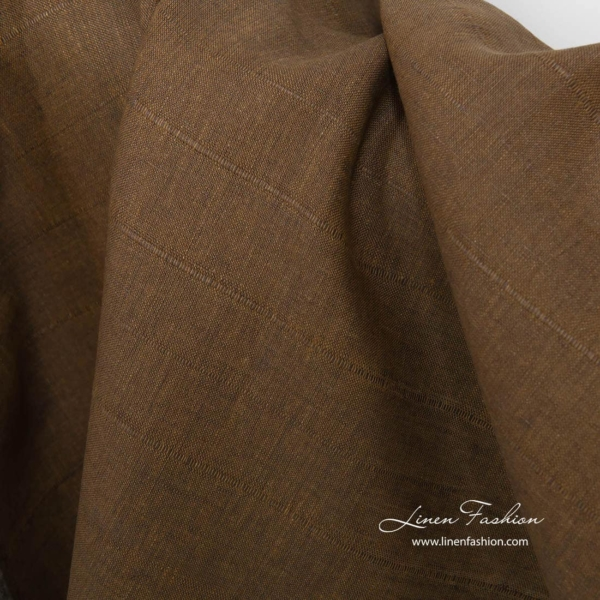 Brown linen fabric with stripes   Linen Fashion