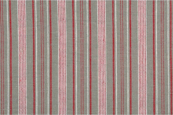 Grey linen cotton fabric with red and white stripes 1