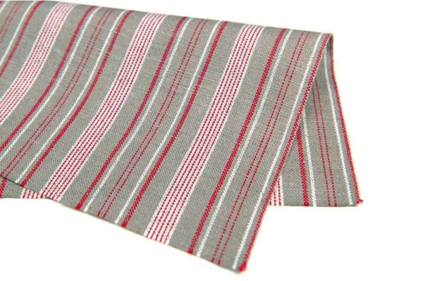 Grey linen cotton fabric with red and white stripes 2