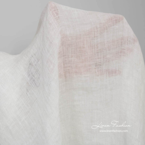 Washed transparent white linen fabric 2