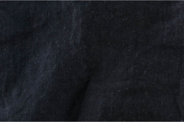 Black washed linen fabric in herringbone 1