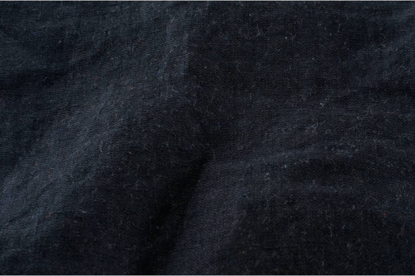 Black washed linen fabric in herringbone 2