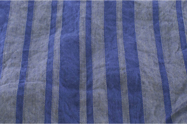 Violet striped washed pure linen fabric 2