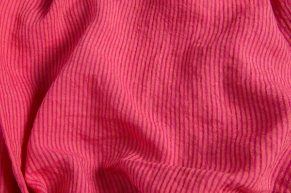 Pink striped linen fabric, washed 1