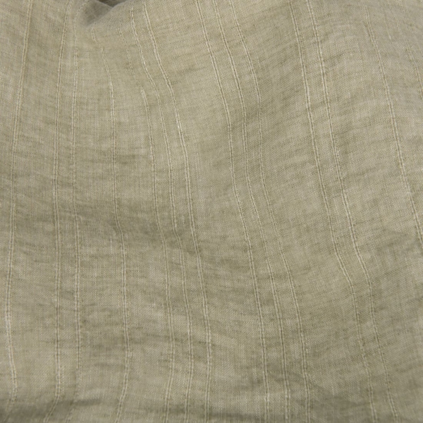 Pale green patterned washed linen fabric 1