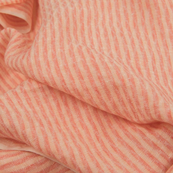 Light pink striped linen fabric, washed 1