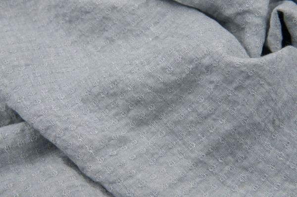 Light blue grey patterned linen fabric, washed 1