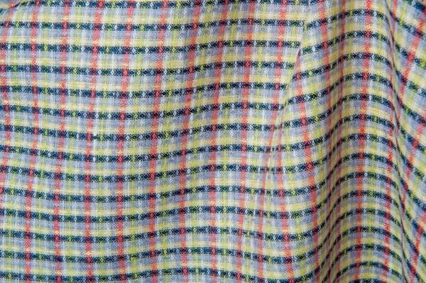 Colourful checked linen fabric 1