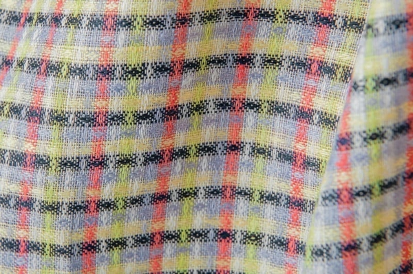 Colourful checked linen fabric 2