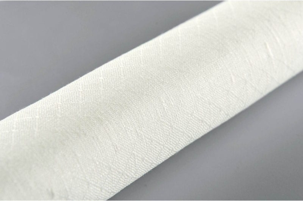 Off-white linen fabric in a diamond pattern 2