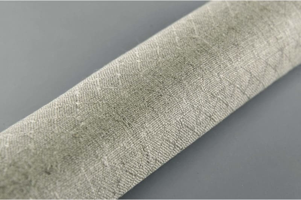Grey patterned pure linen fabric 2