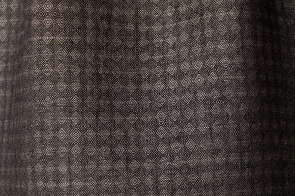 Diamond patterned linen fabric in black and grey 1