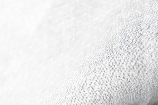 Patterned optical white linen fabric 1