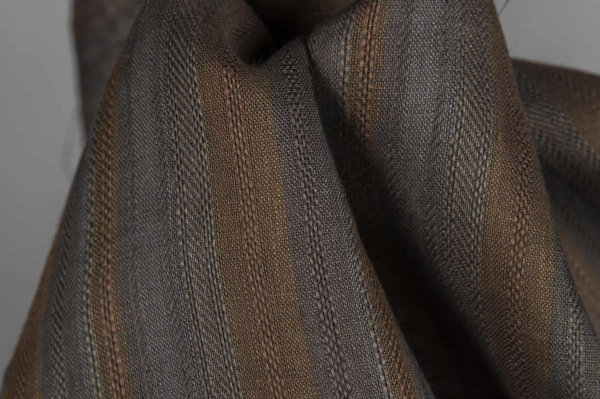 Grey linen fabric with brown stripes 3