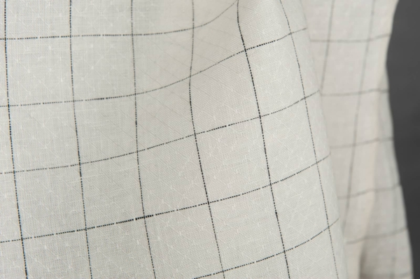 White linen fabric with black checks 3