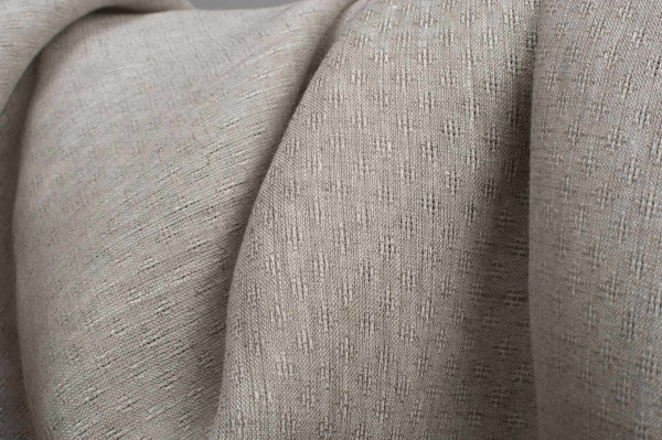 Openwork patterned linen fabric in light grey 2