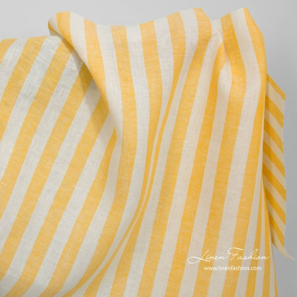 Linen fabric with yellow stripes 1