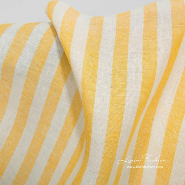 Linen fabric with yellow stripes 2