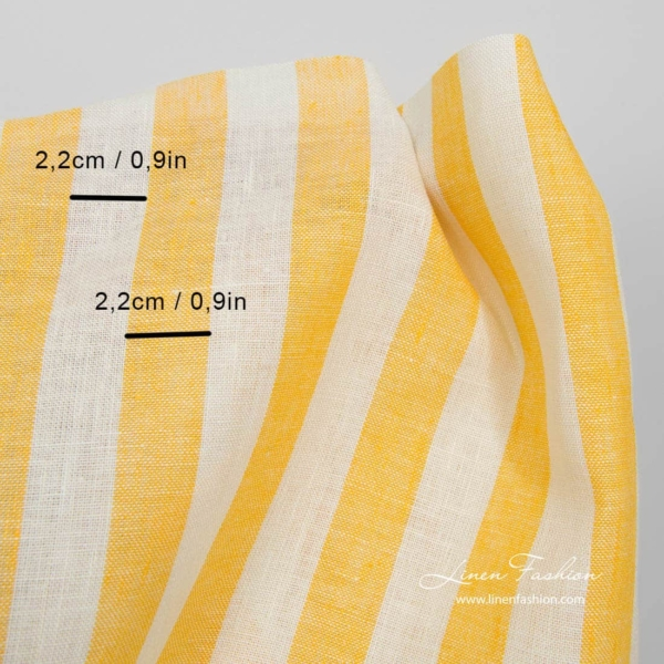 Linen fabric with yellow stripes 3
