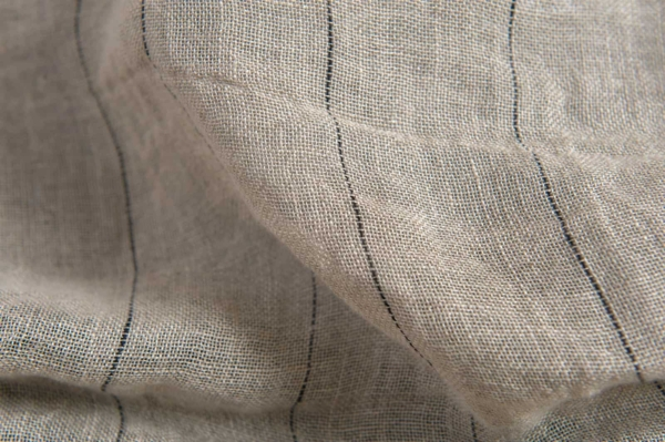 Grey transparent linen fabric with black stripes, washed 3
