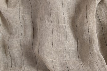 Grey transparent linen fabric with black stripes, washed 2