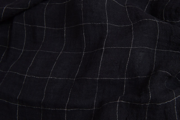 Black transparent checked linen fabric, washed 1