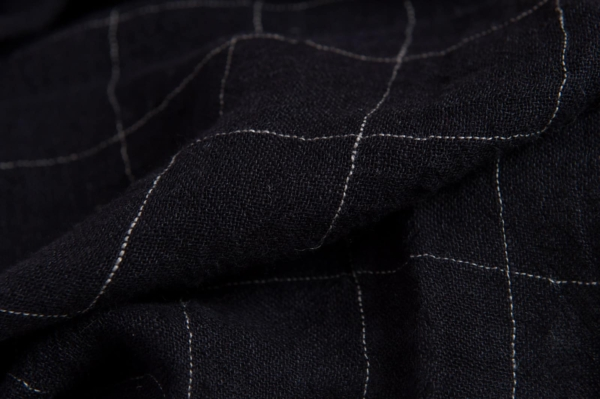 Black transparent checked linen fabric, washed 2